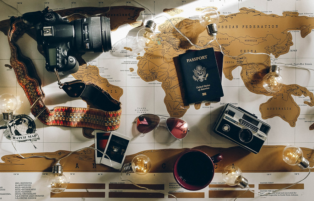 A map with traveling gear on it.