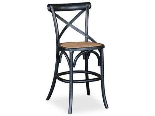Crossback Antique Black Barstool