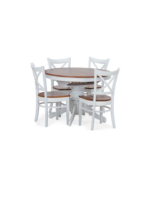 Petrie White Ext 5pc Dining Suite