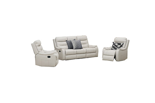 Coral Leather 3 Piece Manual Recliner Lounge