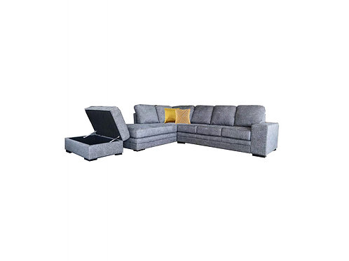 Delta 4 Seater Chaise Lounge with Storage Ottoman