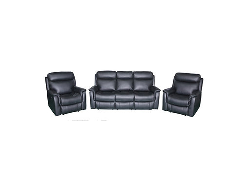 Cameo Leather 3pc Manual Recliner Lounge Suite