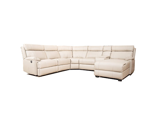 Rhinestone 5 Seater Leather Corner Chaise Lounge