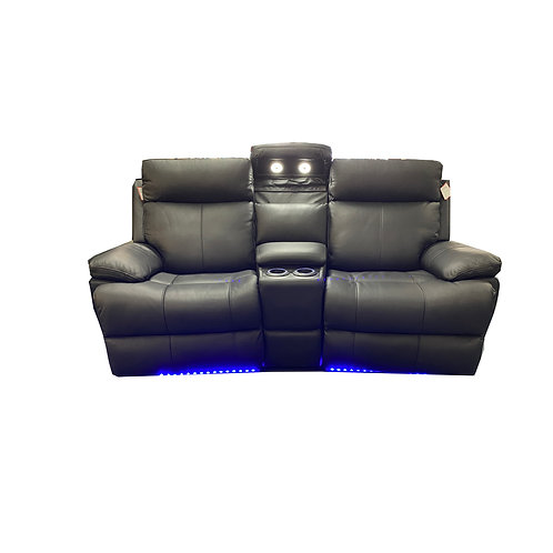 Ebony Leather 2 Seater Theatre Lounge
