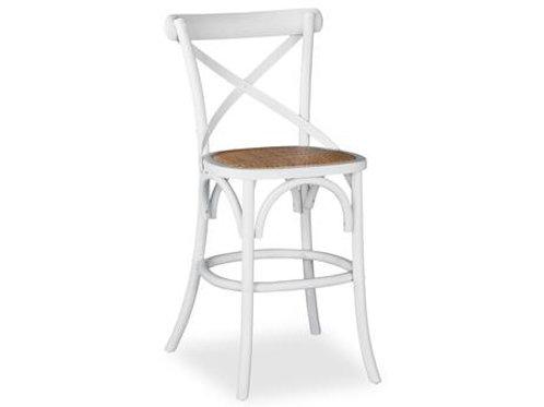 Crossback Antique White Barstool