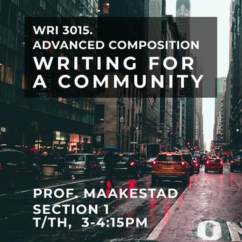 WRI 3015, Sec 1, Prof Maakestad