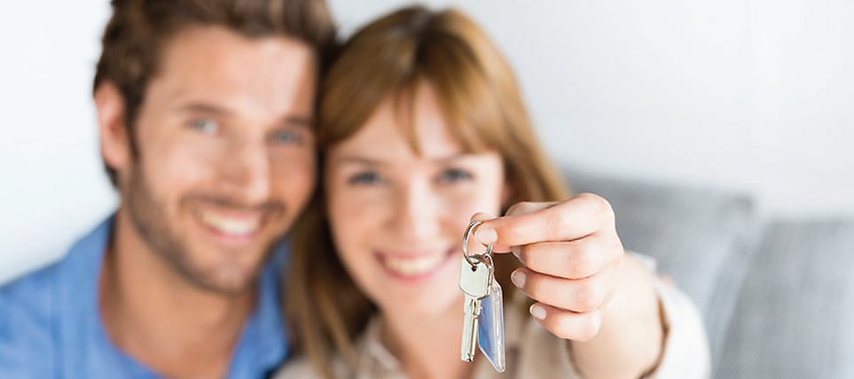 a couple, the women hands out the keys