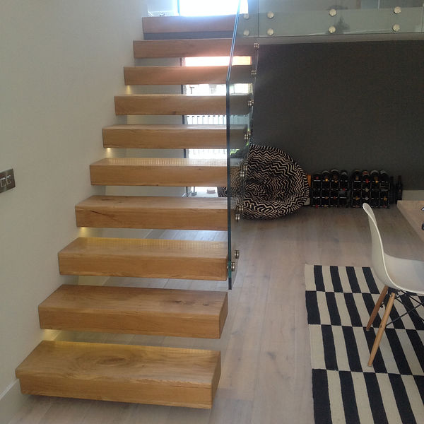 floating staircase oak and glass