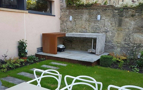 concrete and corten BBQ table
