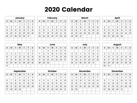 2020 Verein Calendar (updated)