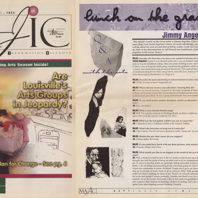 MAJIC - Monthly Arts Journal Information Calender (Louisville, Kentucky) --- September, 2001.