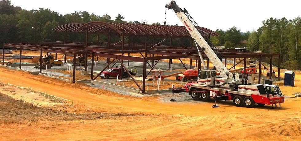 Construction using a crane of the Sullivan Memorial Blood Donor Center