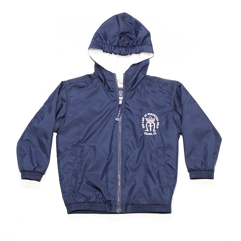 Dark Navy Nylon Jacket with Hood