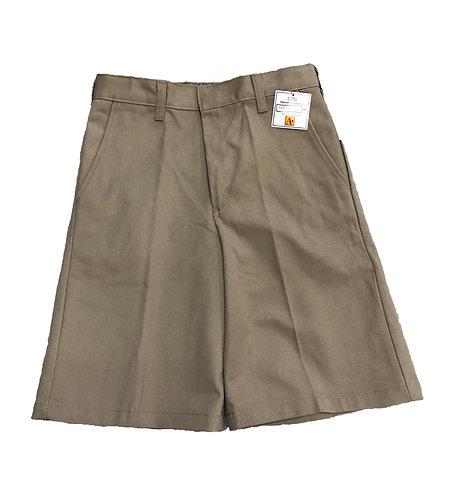 Khaki Pleated Twill Shorts
