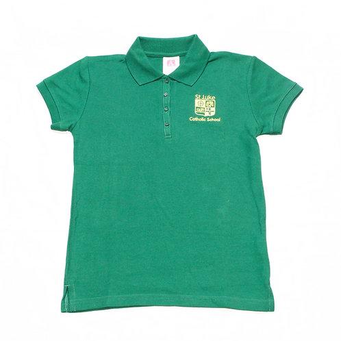 Girls' Green Pique Polo (St. Luke)