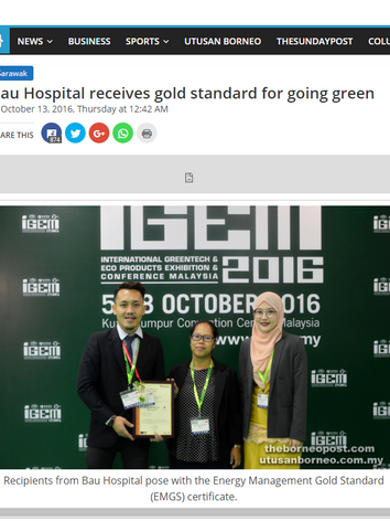 Bau Hospital receives gold standard for going green - Borneopost