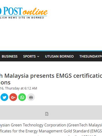 Greentech Malaysia presents EMGS certification to 20 organizations - Borneo Post