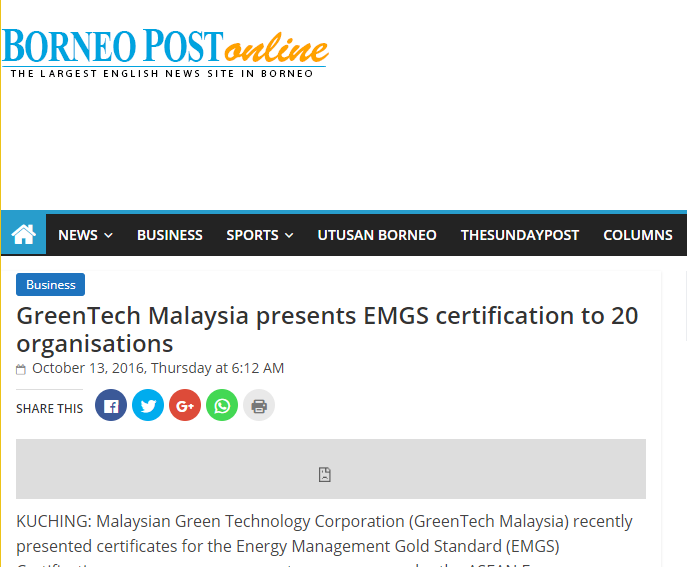 Greentech Malaysia presents EMGS certification to 20 organizations - Borneo Post