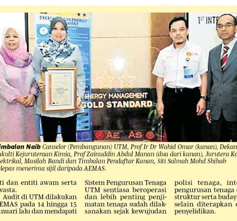 UTM raih anugerah emas AEMAS - Berita Harian