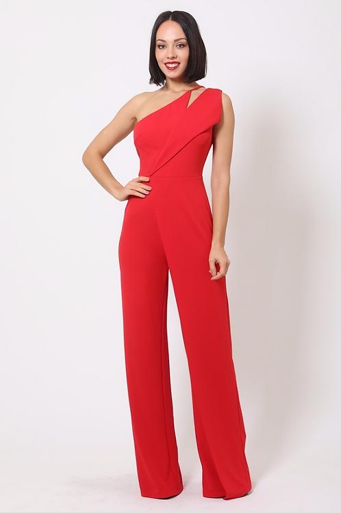 One Shoulder Jumpsuit ( Red)