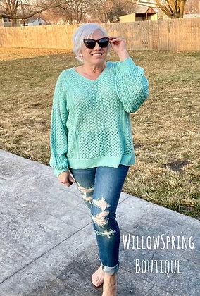 Sunshine and Grace Mint Sweater