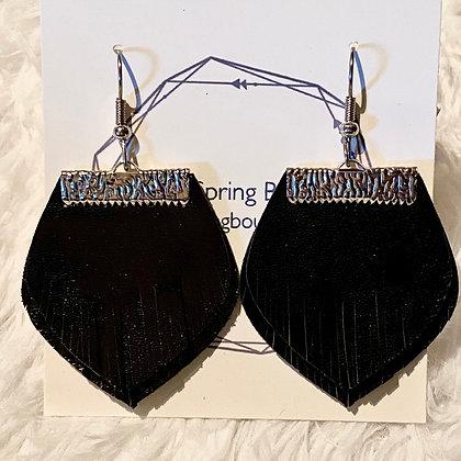 Black Double Fringe Earrings