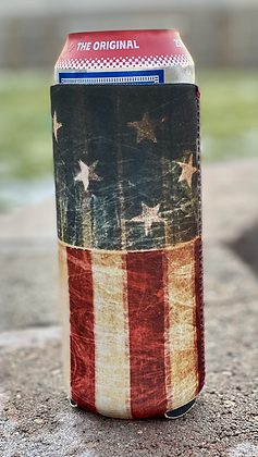 Patriotic Flag Silo Can Cooler 25 oz