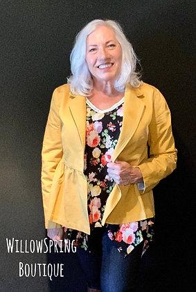 Carolyn Peplum Blazer Mustard