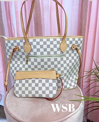 Cole Checkered Handbag & Clutch Cream