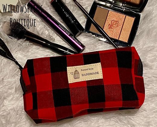 Makeup Bag Buffalo Plaid Red