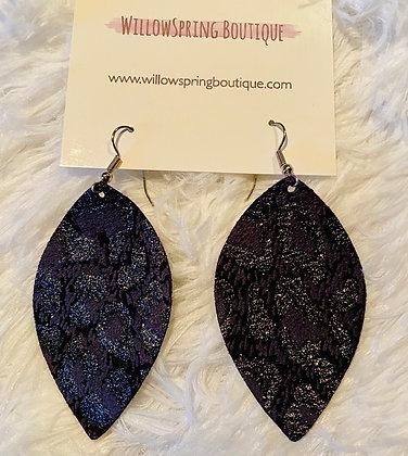 Black Cheetah Earrings Large