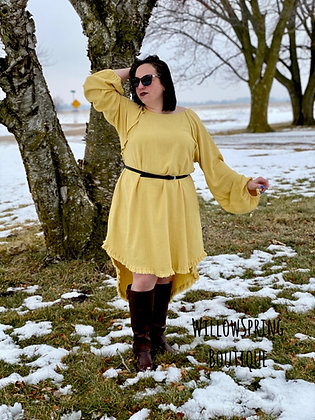 Golden Yellow Linen Blend Dress