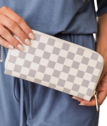 Cole Wallet Grey & White Check