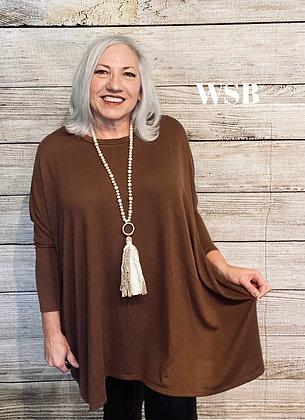Veronica Tunic Sweater Chocolate Brown