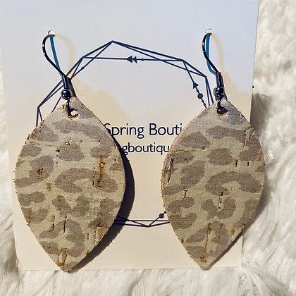 Leopard Cork on Leather Earrings Medium