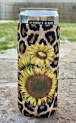 Sunflower Leopard Slim Can Cooler