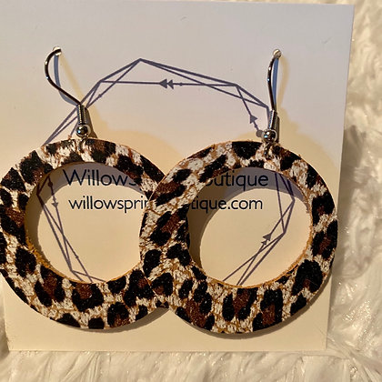 Leopard Circle Cork on Leather Earrings Medium