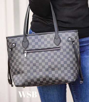 Cole Checkered Handbag & Clutch Black