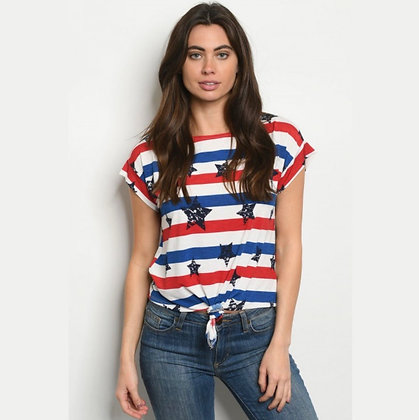 Stars & Stripes Front Knot Top