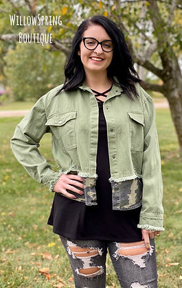 Army Green Denim Camo Jacket