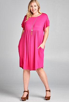 Pink Crisscross Back Dress