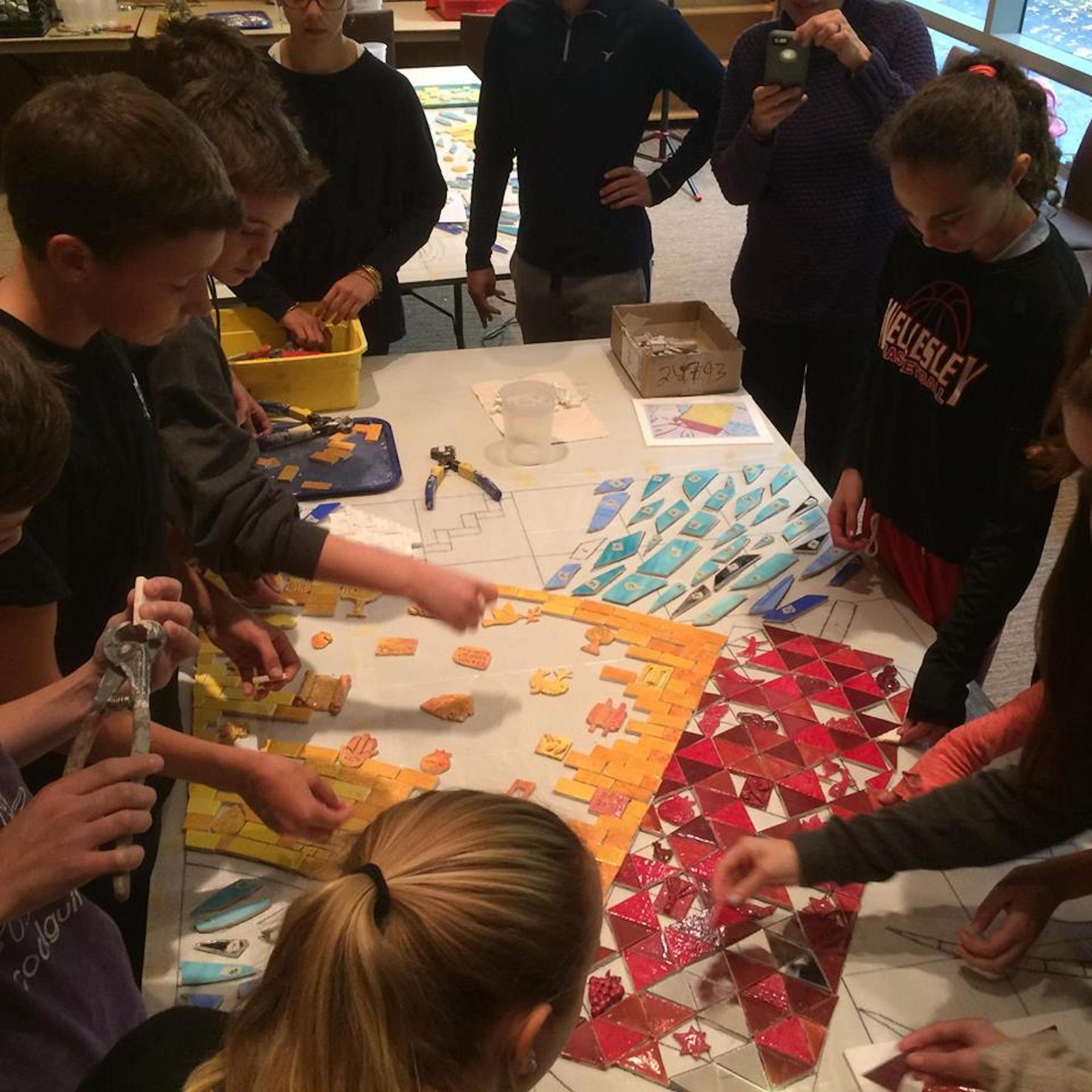 7. Students making mosaic