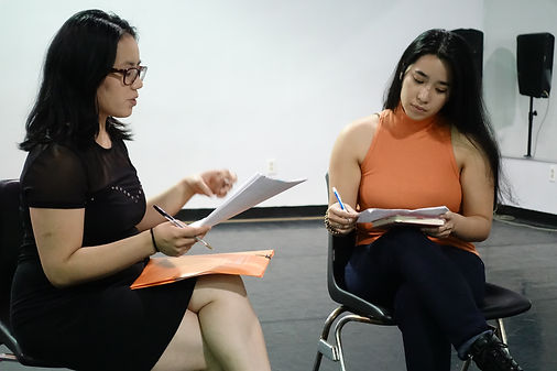 Director Summer Dawn Reyes, left, rehear