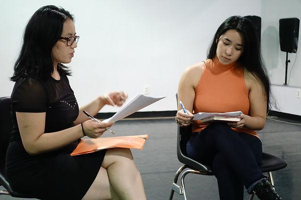 Director Summer Dawn Reyes, left, rehear