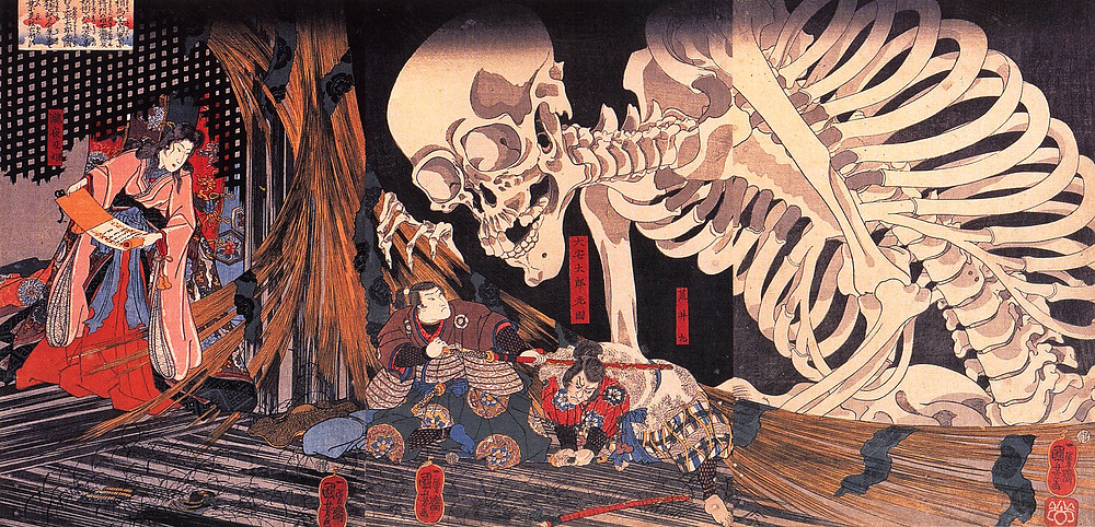 Gashadokuro is said to be a giant skeleton which incorporated of the war dead, people who died in a ditch, not buried, skeletons and grudge. It wanders around at night shaking his bones, making loud rattling noise, and whenever he finds a man alive, he makes an assault, crushes him and finally eats him.