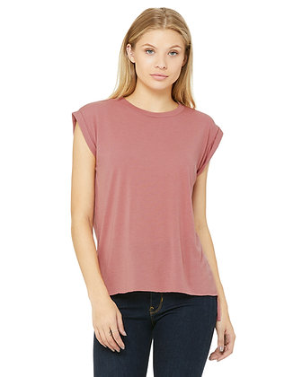 Bella + Canvas Ladies' Flowy Muscle T-Shirt with Rolled Cuff #8804