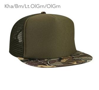 Otto Cap Flat Bill Camo Bill Trucker Hat #132-1121
