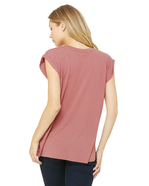 33f143e22 Bella + Canvas Ladies' Flowy Muscle T-Shirt with Rolled Cuff #8804