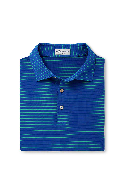 Peter Millar Fancy Polo (Royal/ Green Stripe)
