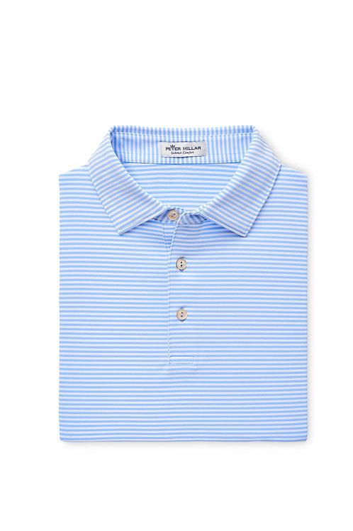 Peter Millar Fancy Polo (White Light Blue Stripe)